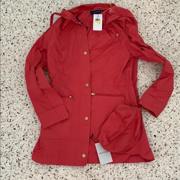 Cole Haan Jackets & Blazers - NWT Colehaan red rain packable jacket coat M